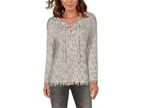 Natural Reflections Lace-Up Long-Sleeve Sweater fo