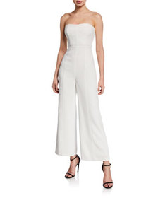 cinq a sept Paola Strapless Flared Jumpsuit