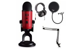 Blue Microphones Yeti Red USB Mic with Knox Boom A