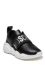 MOSCHINO Banded Logo Slip-On Leather Sneaker