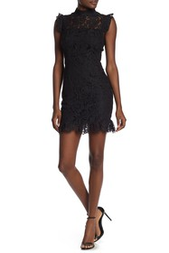 MAX & ASH Ruffled Lace Bodycon Mini Dress