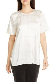 Eileen Fisher Jewel Neck Box Top