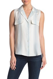 FRAME Front Button Silk Tank Top