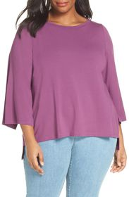 Eileen Fisher Split Sleeve Top (Regular & Plus Siz