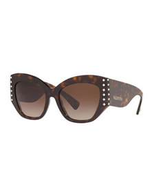Valentino Acetate Crystal-Trim Butterfly Sunglasse