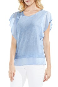 Vince Camuto Ruffle Sleeve Top (Regular & Petite)