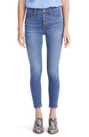 Madewell Button Front Crop Skinny Jeans (Dewey) (R