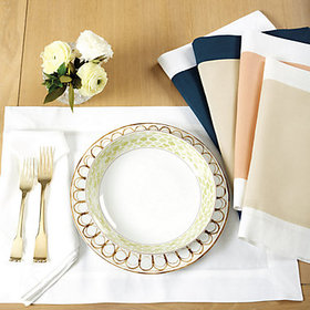 Bunny Williams Banded Placemat - Persimmon/White