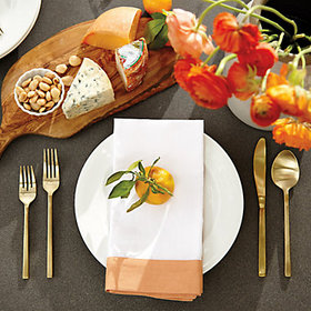 Bunny Williams Banded Dinner Napkins - Persimmon