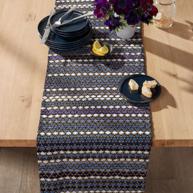"""Crate Barrel Sarafina 90"""" Blue Embroidered Table R"""