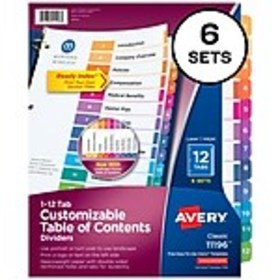 Avery Ready Index Numeric Paper Dividers, 12-Tab,
