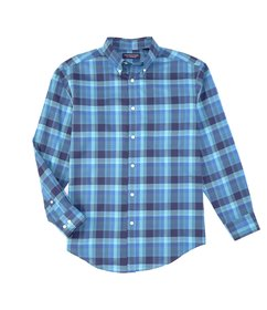 Roundtree & Yorke Long-Sleeve Plaid Pinpoint Oxfor