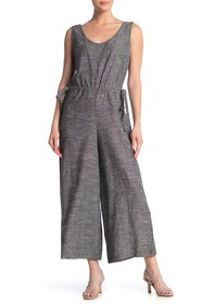 Max Studio V-Neck Sleeveless Linen Blend Jumpsuit