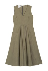 Donna Morgan Pocket Front V-Neck Linen Midi Dress