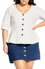 City Chic Lola Button Front Linen Blend Peplum Top