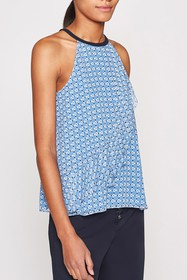 Joie Corisande Silk Halter Neck Ruffled Tank Top
