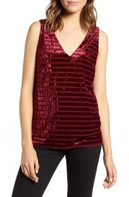 Chelsea28 Shadow Stripe Velvet Tank Top