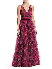 Marchesa V-Neck Printed Textured Tulle Gown PLUM