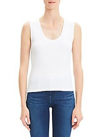 Theory Compact Scoopneck Ribbed Tank Top WHITE