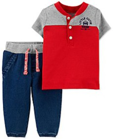 Baby Boys 2-Pc. Henley T-Shirt & Jogger Pants Set