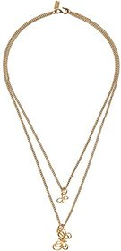 Kenneth Jay Lane 2 Row Gold Chain Necklace w/ Gold