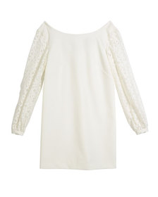 Milly Minis Shawna Lace-Sleeve Tie-Back Shift Dres