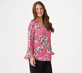 """As Is"" Dennis Basso Printed Caviar Crepe Top with"