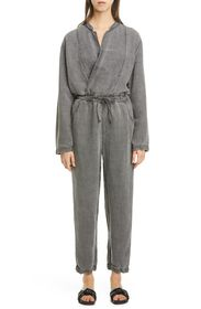 NSF CLOTHING Alana Surplice Linen Blend Jumpsuit