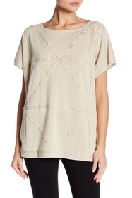 Joan Vass Braided Linen Blend Knit Poncho