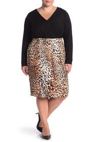 ECI Ombre Leopard Print Pull-On Skirt (Plus Size)
