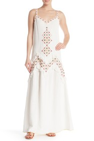 Max Studio Embroidered V-Neck Sleeveless Maxi Dres
