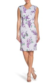 T Tahari Sleeveless V-Neck Floral Print Dress