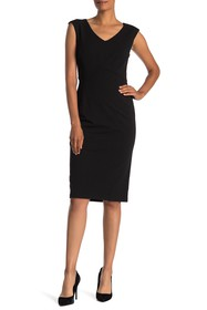 T Tahari Sleeveless Sheath Midi Dress
