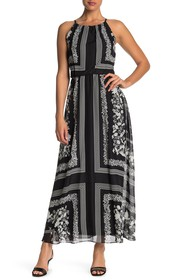 Julia Jordan Chiffon Patterned Blouson Maxi Dress