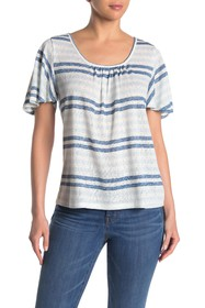 Bobeau Emile Striped Swing Blouse