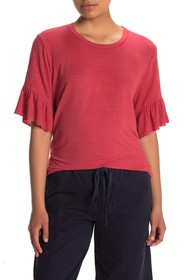 Velvet by Graham & Spencer Ruffle Sleeve Linen Ble