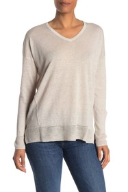 Kinross Linen High/Low V-Neck Long Sleeve Top
