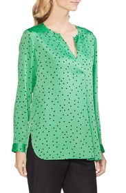 Vince Camuto Polka Dot Split Neck Top (Regular & P