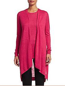 COLLECTION Silk & Linen Longline Open-Front Cardig