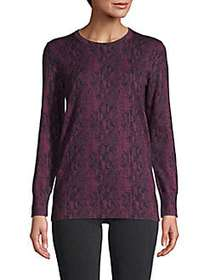 Printed Cotton & Cashmere-Blend Sweater MAROON
