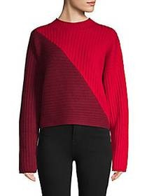 Colorblock Wool & Cashmere-Blend Sweater RED