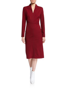 Piazza Sempione Stitched Funnel-Neck Cocktail Dres