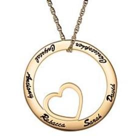 Family Name Open Circle with Heart Necklace