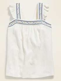 Sleeveless High-Neck Embroidered Swing Top for Gir