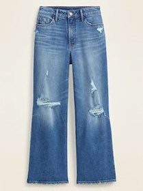 Extra High-Waisted Distressed Wide-Leg Jeans for W
