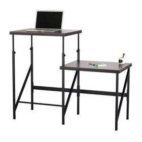 Steel Elevate Active 2 Tier Standing Desk in Brown
