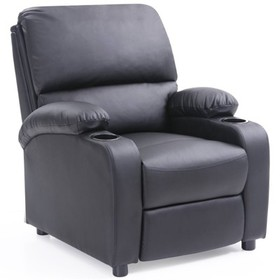 Recliner with 2 Cup Holders in Black - Hodedah
