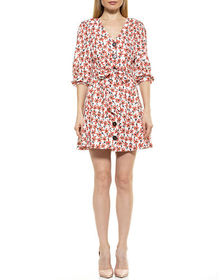 Alexia Admor Printed Button Down Belted Linen Dres