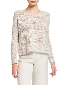 Stellah Space-Dyed Textured-Knit Sweater