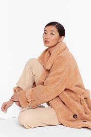 Nasty Gal Camel Faux Shearling Longline Coat with